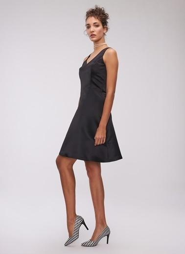 People By Fabrika Saten Mini Elbise Siyah